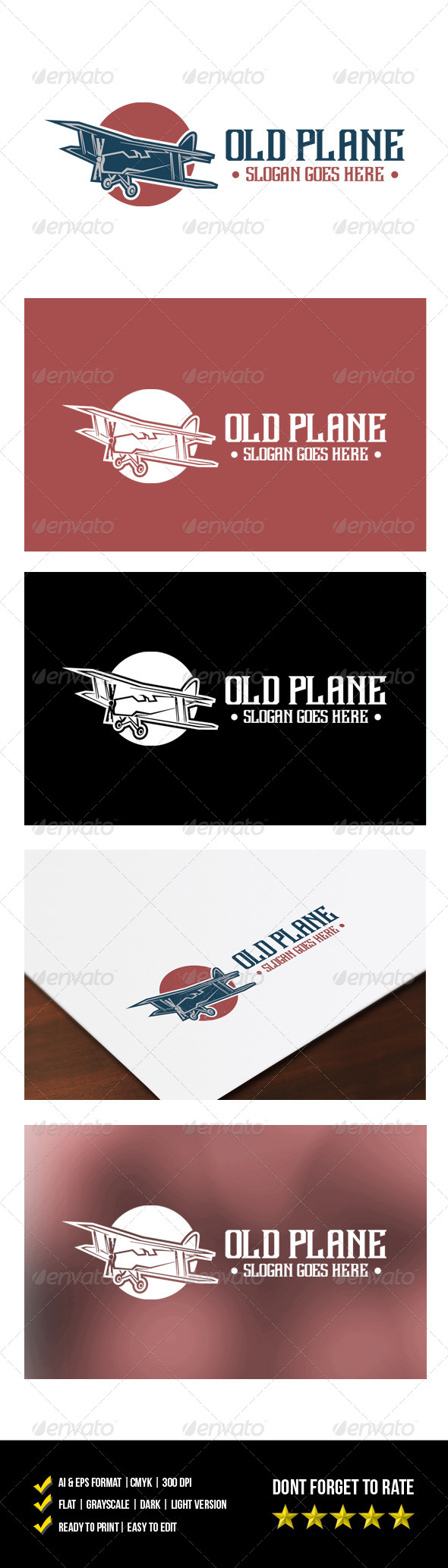 Old Plane Logo - Objects Logo Templates