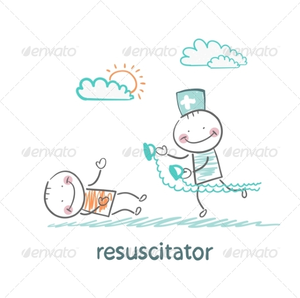 Resuscitation in a Hurry to Sick Patient - People Characters