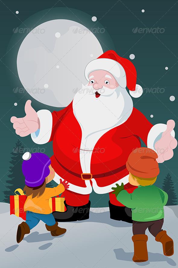 Kids and Santa  - Christmas Seasons/Holidays
