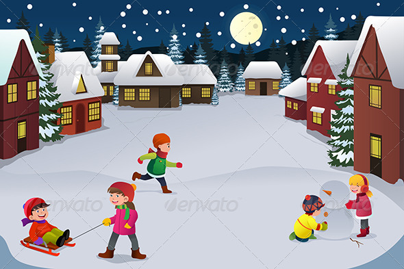 Kids playing in a winter wonderland by artisticco for Patinoire exterieur