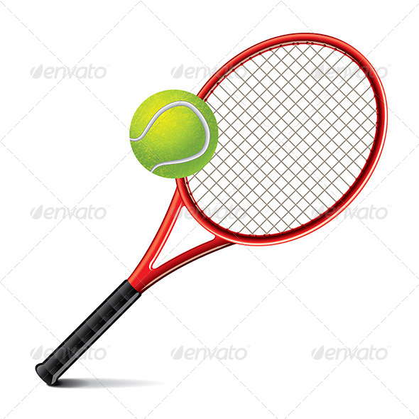 Tennis Racket and Ball Vector Illustration - Sports/Activity Conceptual