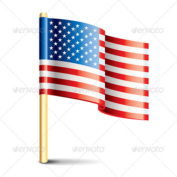United States of America Glossy Flag - Travel Conceptual