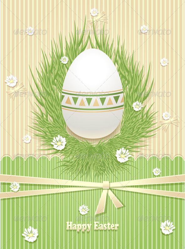 Easter Egg with Grass Flowers Ribbon  - Seasons/Holidays Conceptual