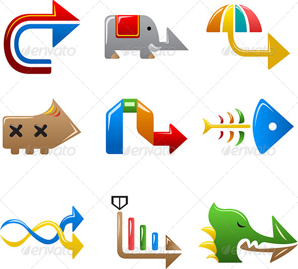 Colorful Arrow Signs - Decorative Vectors