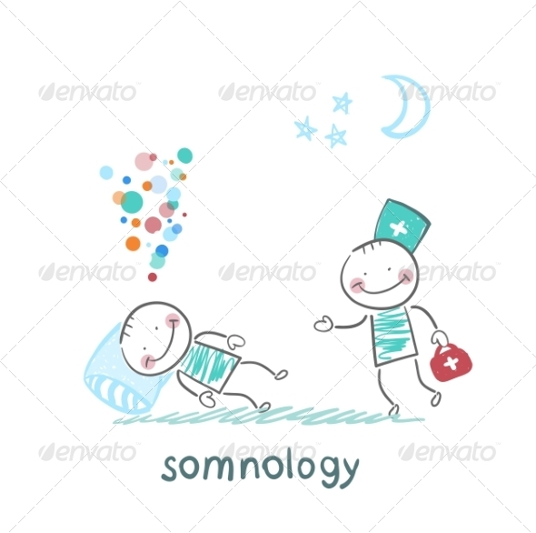 Somnologist Comes to a Patient Who is Sleeping - People Characters