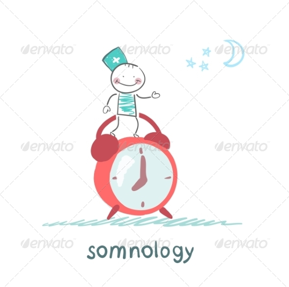 Somnologist Stands on Alarm Clock - People Characters