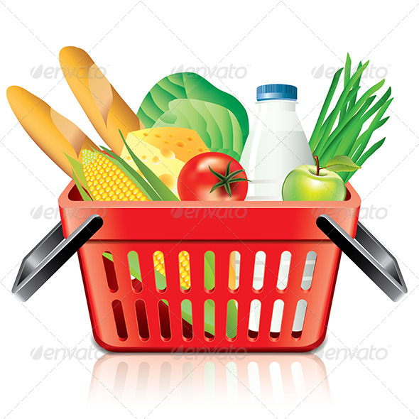 Shopping Basket with Food - Food Objects