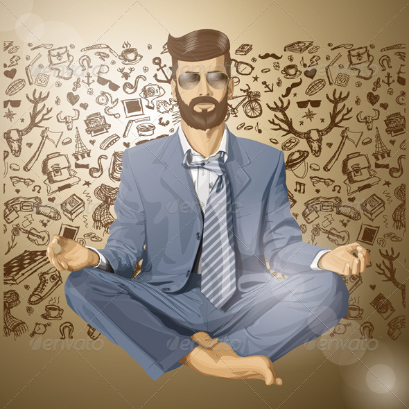 Vector Hipster Businessman in Lotus Pose Meditating - People Characters