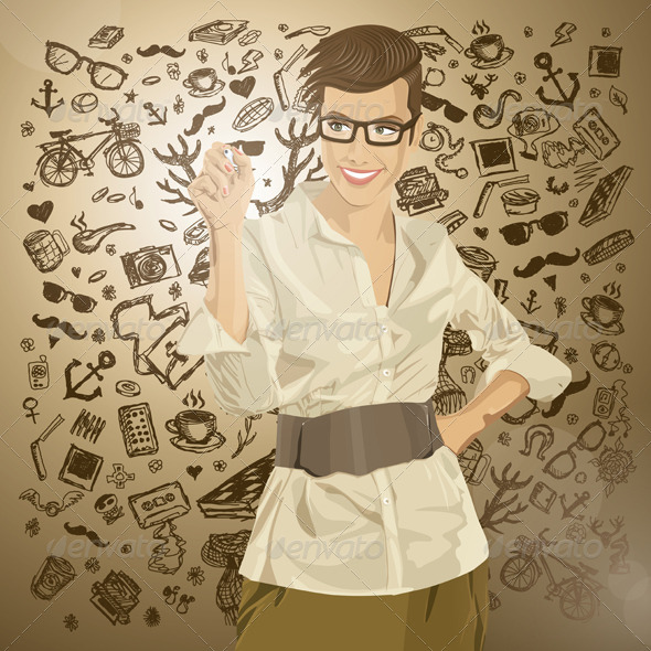 Vector Hipster Business Woman Writing Something - People Characters