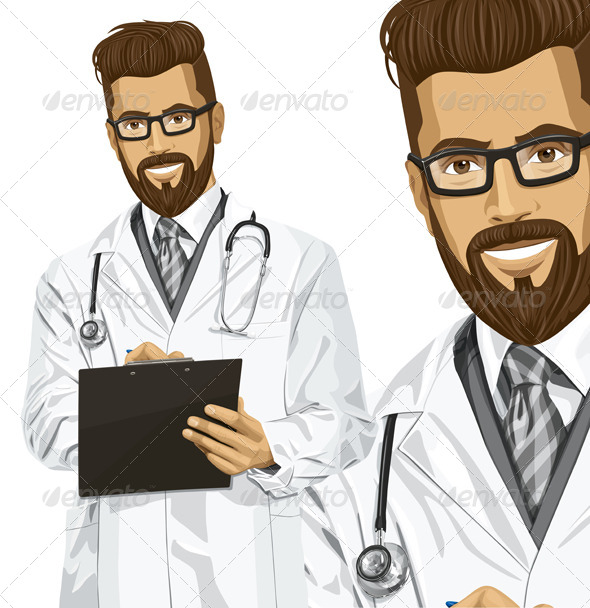 Vector Hipster Doctor Man with Clipboard - People Characters