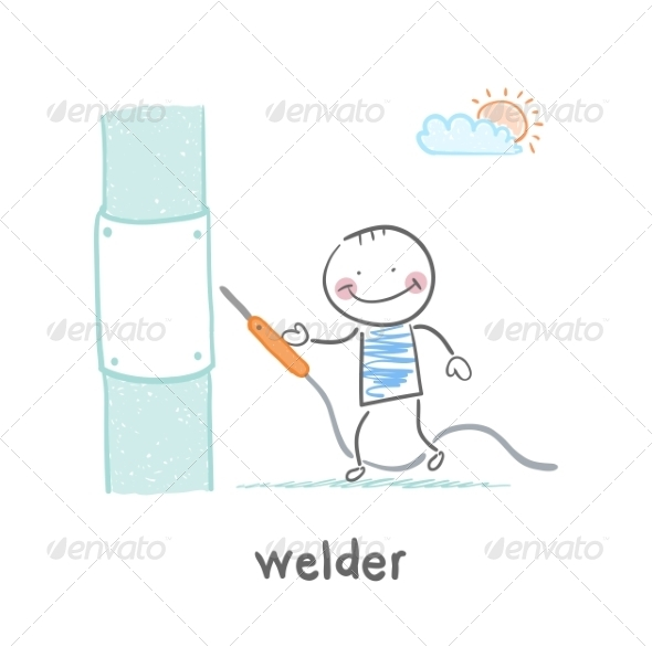 Welder Near Pipes with Welding Machine - People Characters