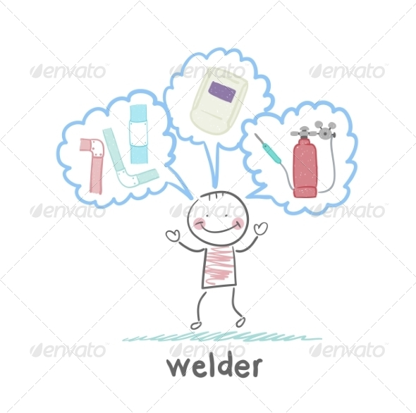 Welder Thinks About Welder Helmet and Pipe - People Characters