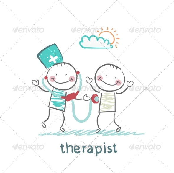 Therapist Listens to a Stethoscope Patient - People Characters