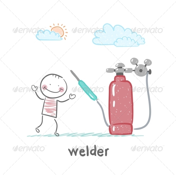 Welder Near Welding Machine - People Characters