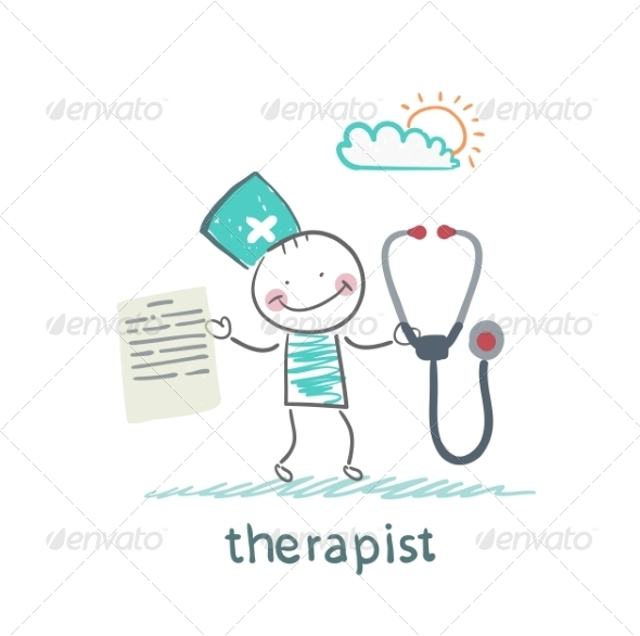 Therapist with a Folder and Stethoscope - People Characters