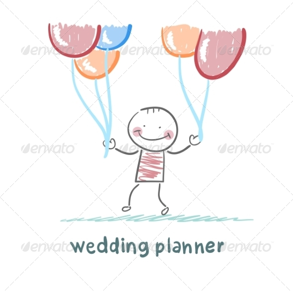Wedding Planner with Helium Balloons - People Characters