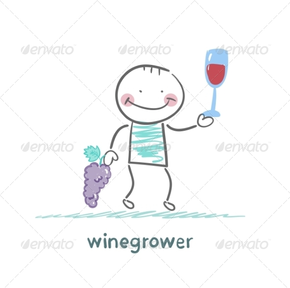 Winegrower Holds Grapes and Wine Glass - People Characters