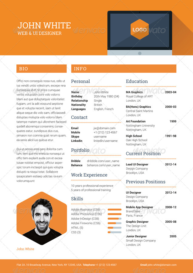 Creative Resume Cv By Ikonome | Graphicriver