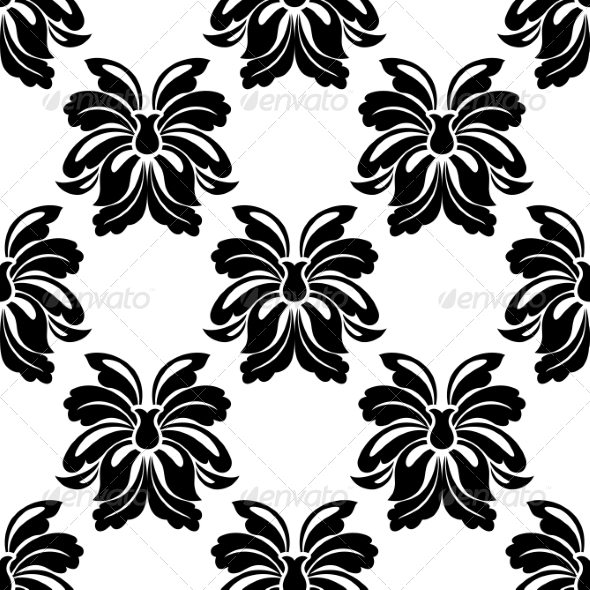 Seamless Floral Pattern in Black and White - Patterns Decorative