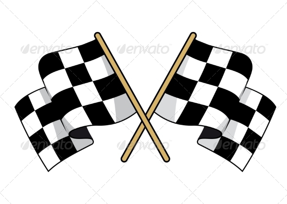 Crossed Black and White Checkered Flags - Sports/Activity Conceptual