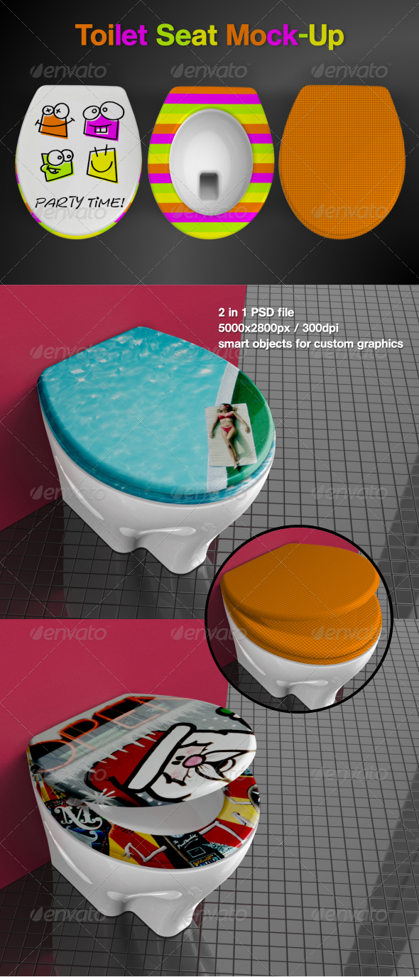 Toilet Seat Mock-Up - Product Mock-Ups Graphics