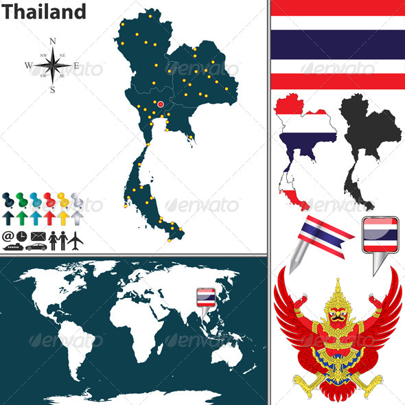 Map of Thailand - Travel Conceptual