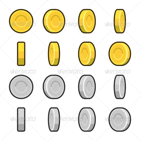 Gold and Silver Coins with Different Rotation Angles - Concepts Business