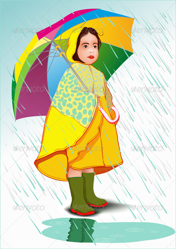 Little Girl Under Umbrella - People Characters