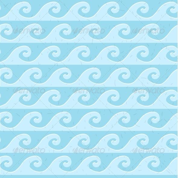 Seamless Blue Grunge Pattern of Waves - Patterns Decorative
