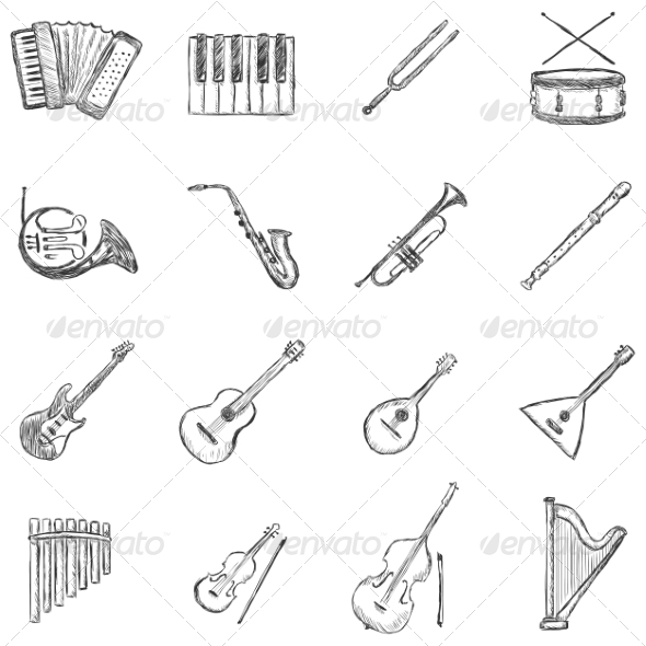 Set of Sketch Musical Instruments Icons - Miscellaneous Conceptual