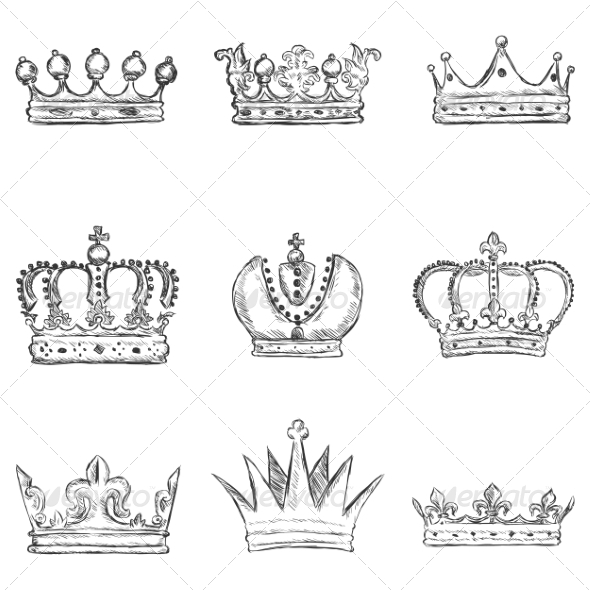 Set of Sketch Royal Crown Icons - Religion Conceptual