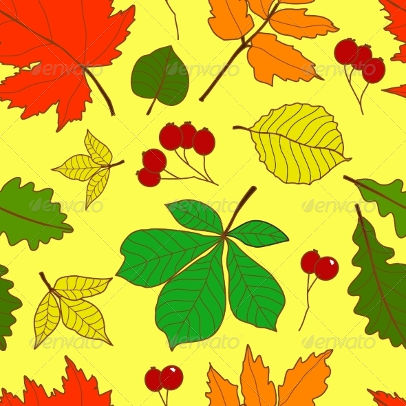 Seamless Pattern with Colorful Fall Leaves - Seasons Nature