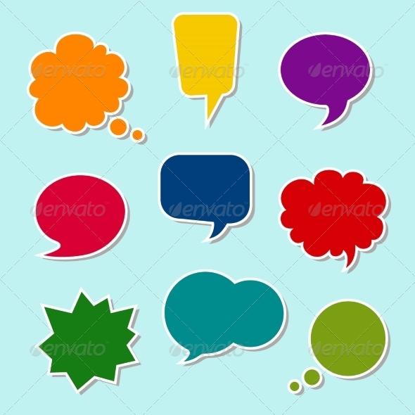 Set of Colorful Speech Bubbles - Decorative Symbols Decorative