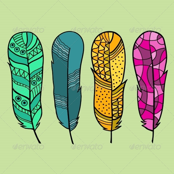 Set of Isolated Hand Drawn Feather - Organic Objects Objects