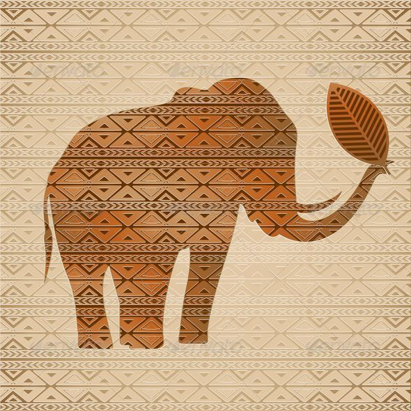 Elephant Tribal Art Design - Animals Characters