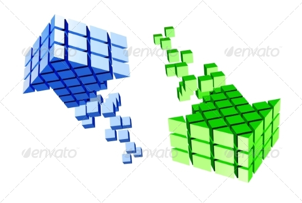 Arrow Icon Made of Cubes - Abstract Conceptual