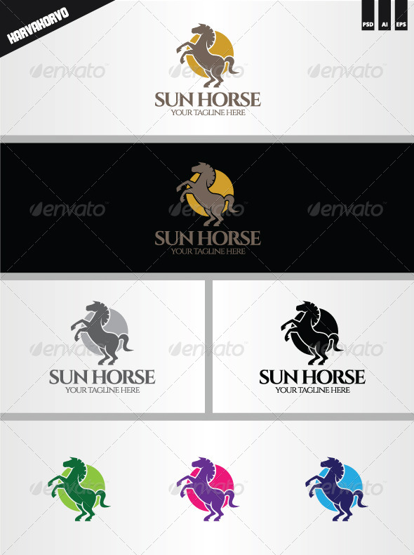 Sun Horse Logo - Animals Logo Templates