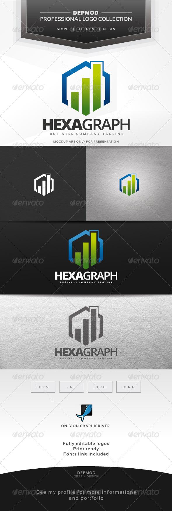 Hexa Graph Logo - Symbols Logo Templates