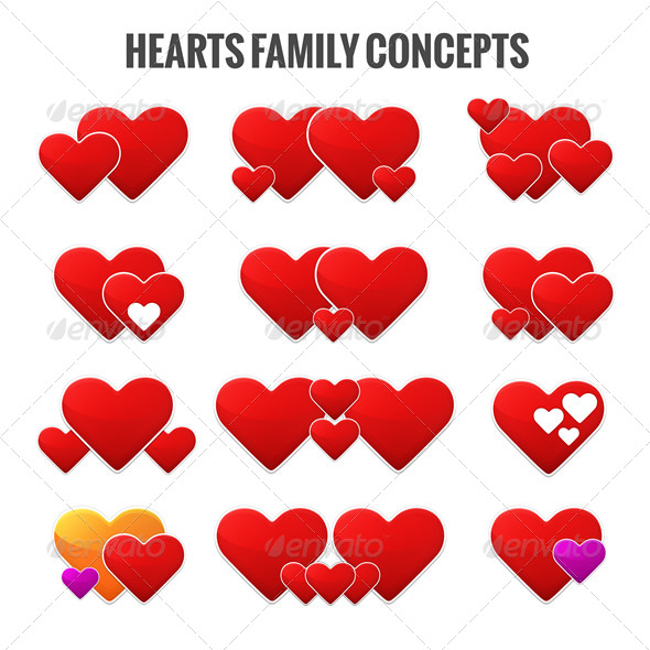 Hearts Family Concepts  - Vectors