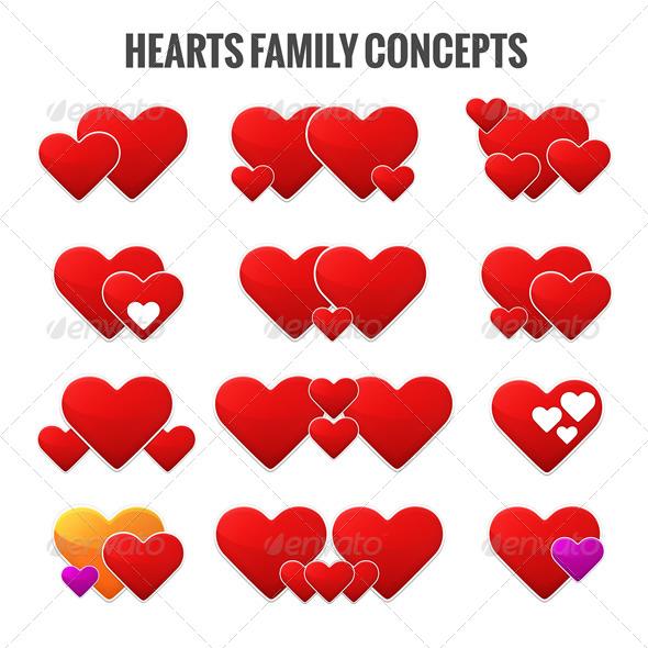 Hearts Family Concepts  - Vectors