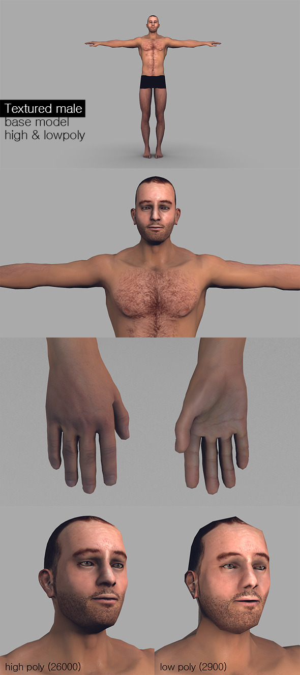 Textured Male Base Mesh Game Model - 3DOcean Item for Sale