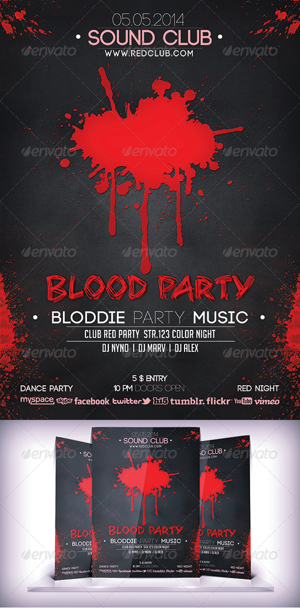 Bloddie Party Flyer - Flyers Print Templates
