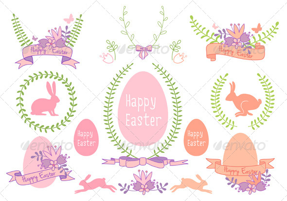 Happy Easter Design Elements - Seasons/Holidays Conceptual