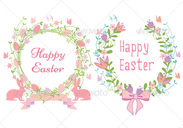 Happy Easter Floral Wreath Set - Seasons/Holidays Conceptual