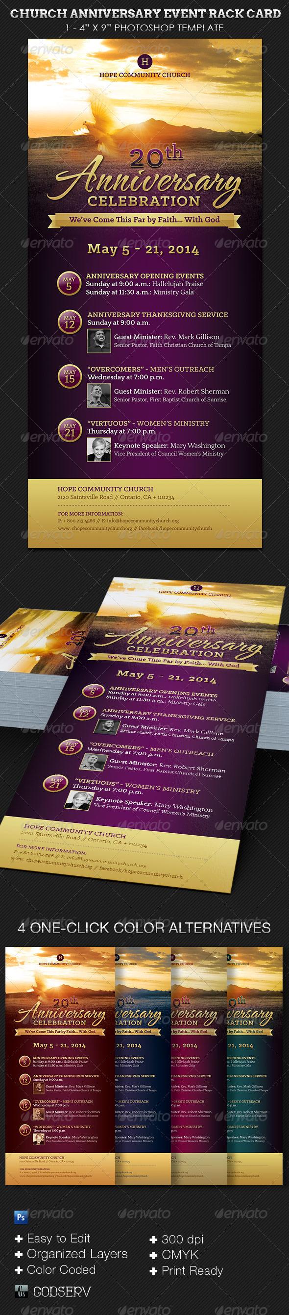 Church Anniversary Events Rack Card Template - Church Flyers