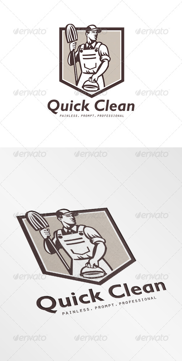 Quick Clean Janitor Cleaner Logo - Humans Logo Templates