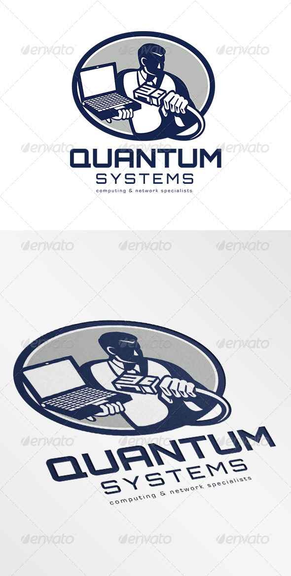 Quantum Systems Computing Networking Specialist Lo - Humans Logo Templates