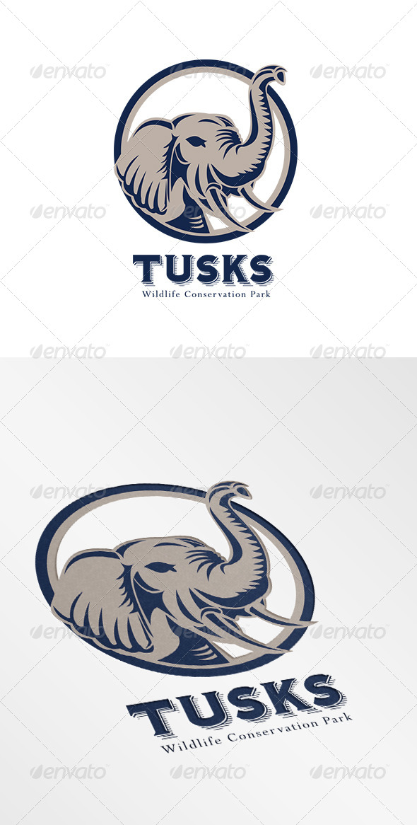Tusk Elephant Head Logo - Animals Logo Templates