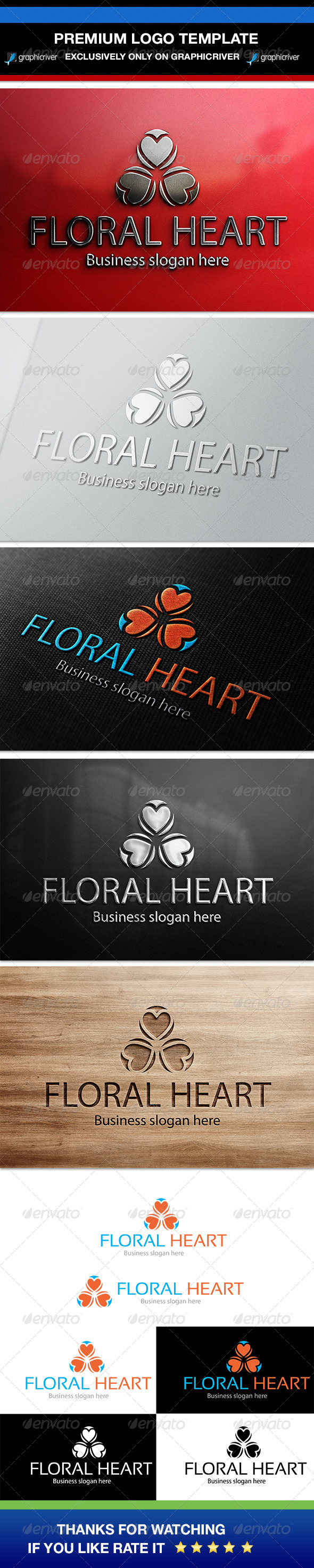 Floral Heart Logo Template - Symbols Logo Templates