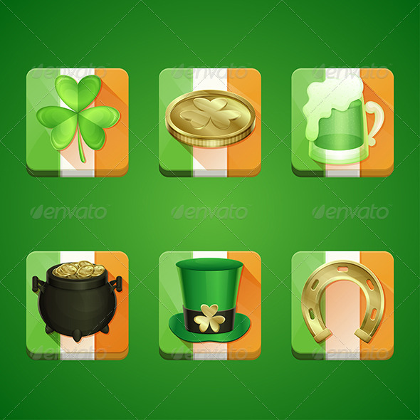 Icons St Patrick's Day - Web Elements Vectors
